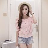夏季新款韩版显瘦花朵一字领短款露肩上衣 甜美吊带收腰半袖T恤女