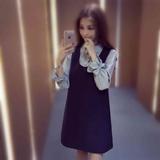 2016夏季韩版新款宽松学生裙子套装长袖衬衫+背带连衣裙两件套女