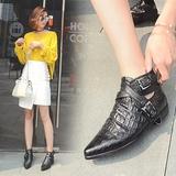 马丁靴女英伦风真皮粗跟尖头低跟短靴春秋单靴黑色低帮欧美靴子潮