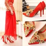 欧美2015冬季新款蕾丝婚鞋红色新娘鞋水钻细跟中跟女单鞋秀禾服鞋