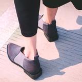 2016秋季低帮女靴子低跟踝靴尖头真皮韩版单靴欧洲站磨砂皮短靴女