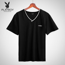 Playboy T-shirt men's short-sleeved summer youth cotton hit color V-neck vest men hit bottom sweatshirt fitness exercise