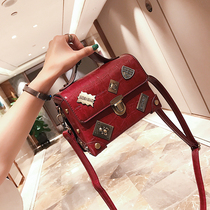 Retro personality bag female 2018 New Fashion Shoulder small square bag Korean casual crocodile pattern Messenger handbag
