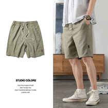 Summer thin section cotton and linen shorts Tide brand ins loose men's casual linen five pants sports 5 points beach pants