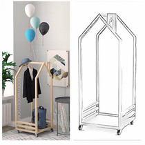 ins custom children's room decoration hanger movable floor Coat Rack House modeling solid wood hangers