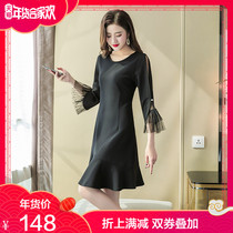 Large size dress fat mm2019 new women's spring was thin cover belly French retro fishtail skirt foreign gas age