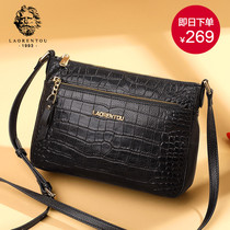 Old man head bag woman 2019 new fashion leather crocodile tattoo middle-aged mom packets shoulder oblique strap soft leather woman bag