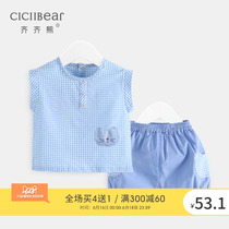 Qi Qi bear Summer men and women cats plaid short-sleeved suit infants baby cotton clothes two-piece thin section