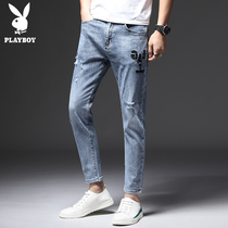 Playboy hole jeans male slim feet nine points Tide brand light-colored Korean trend casual men's pants