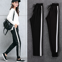 Sports pants 2019 summer new students Korean version of the loose Harajuku bf wild casual thin section nine points Harlan pants