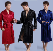 Red Spring Autumn Robe man long-sleeved big size European and American edition bathrobe with fat silk satin youth ice silk bathrobe