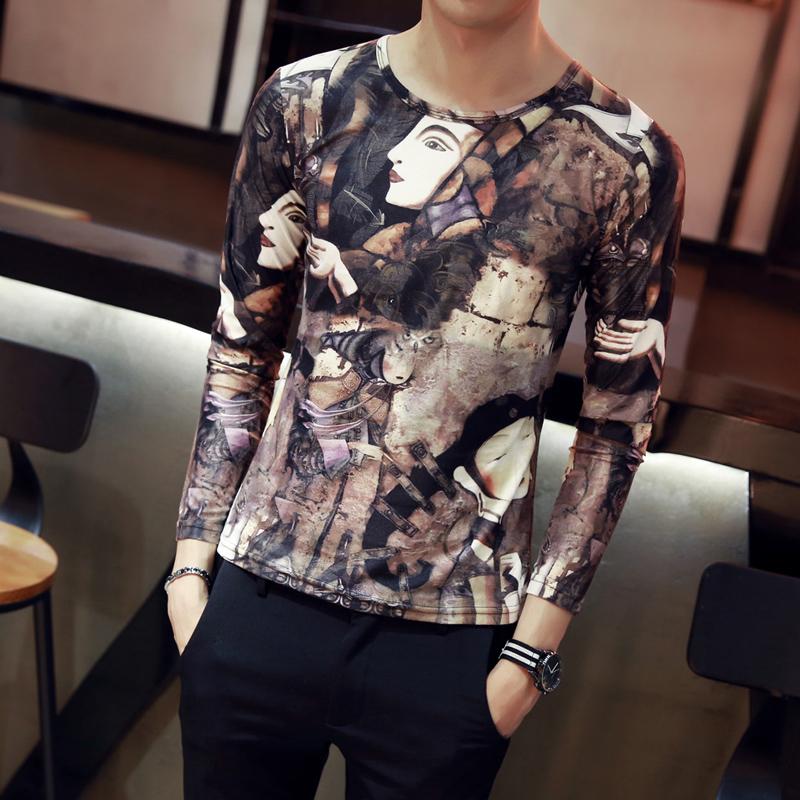 2017年秋装新款男士印花长袖T恤韩版潮流夜店纹身打底衫紧身衣服