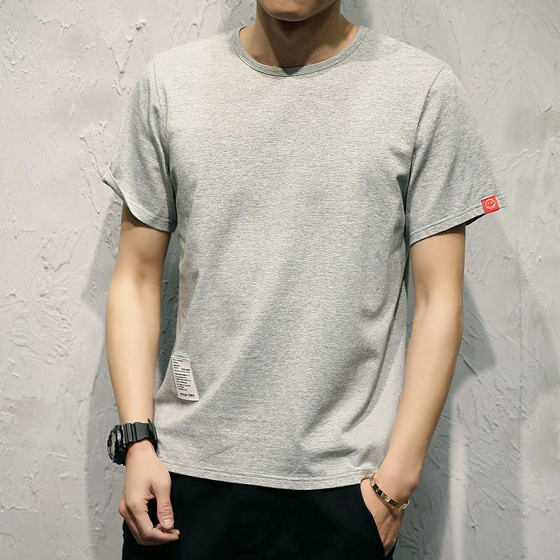 【2件装】夏天韩版纯棉短袖T恤男士修身圆领体恤纯色青年大码半袖