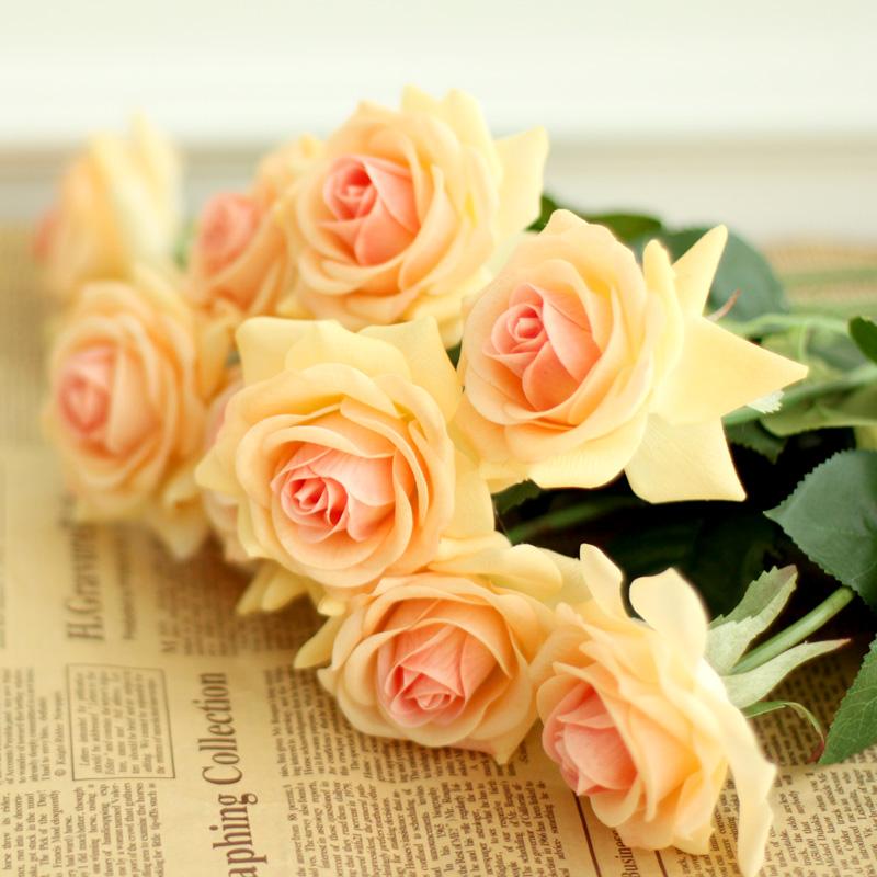 母亲情人节高仿真花节日礼物 假花装饰花绢花塑料花保湿玫瑰