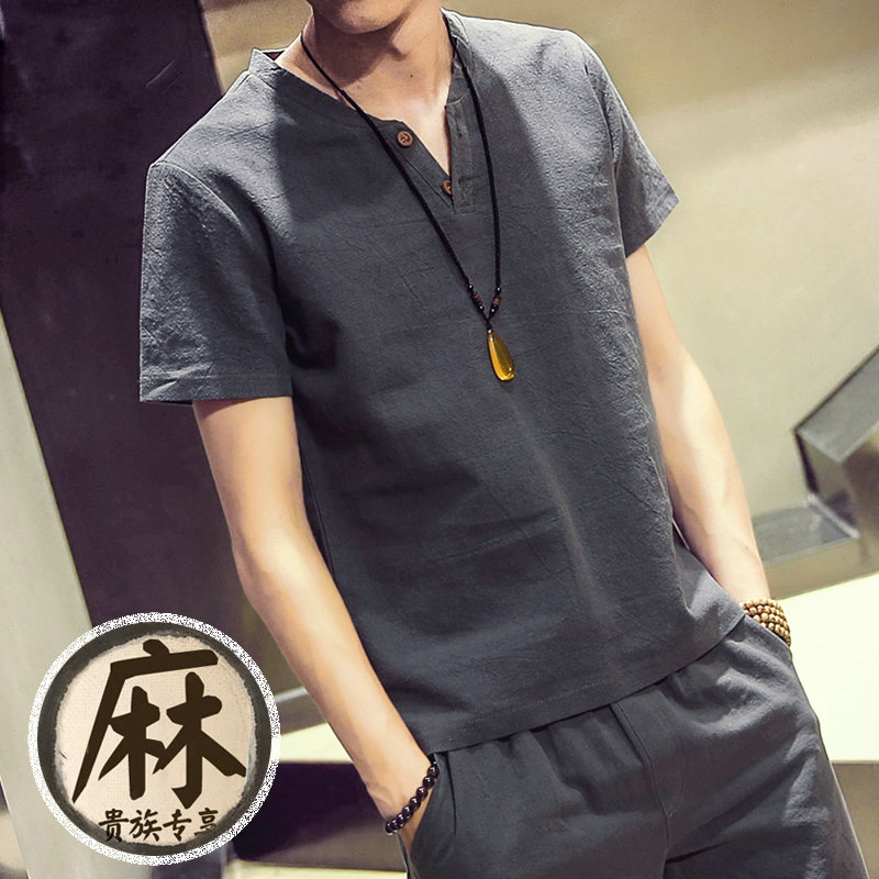 夏季日系棉麻短袖t恤男士大码中国风上衣服亚麻半袖修身潮胖男装