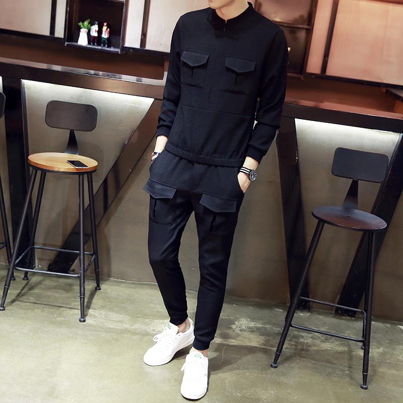 2017秋季男士长袖运动套装韩版修身潮流休闲服新款长裤跑会运动服