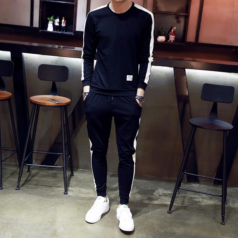 2017秋季男士长袖套装韩版潮流修身运动服跑步休闲两件套衣服一身