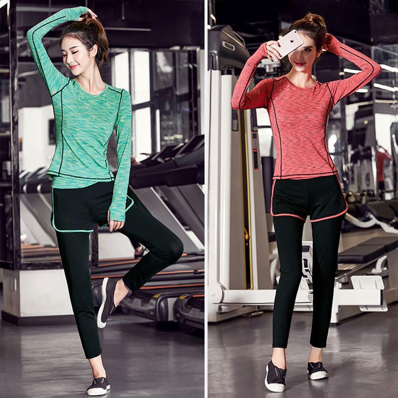 裂尚 春夏季瑜伽服套装女健身房跑步运动服假两件长裤三件套秋冬