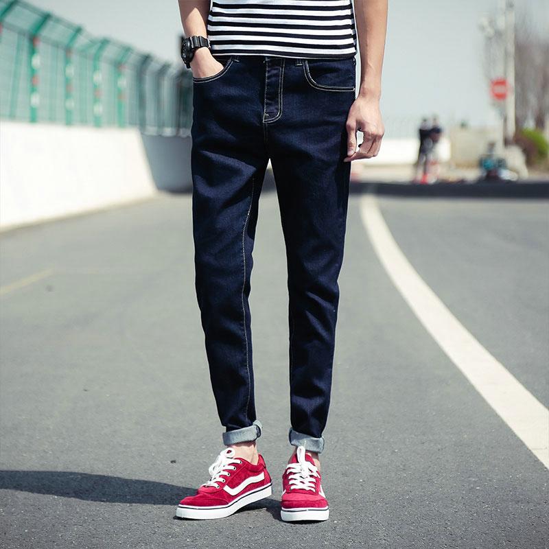 夏装薄款弹力牛仔裤男士加肥加大码长裤青少年小脚裤哈伦裤潮男装