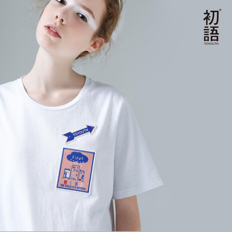 群里有红包挂怎么办 夏季新品 立体卡通章贴刺绣圆领短袖T恤