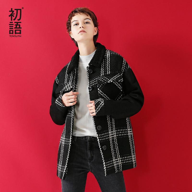 8月21日上新]100扫雷红包群冬季新款 厚暖翻领撞色格纹宽松毛呢外套