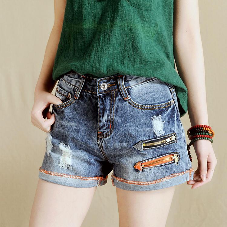 禾彩牛仔短裤女夏宽松显瘦女士休闲直筒裤浅色大码破洞超短裤热裤