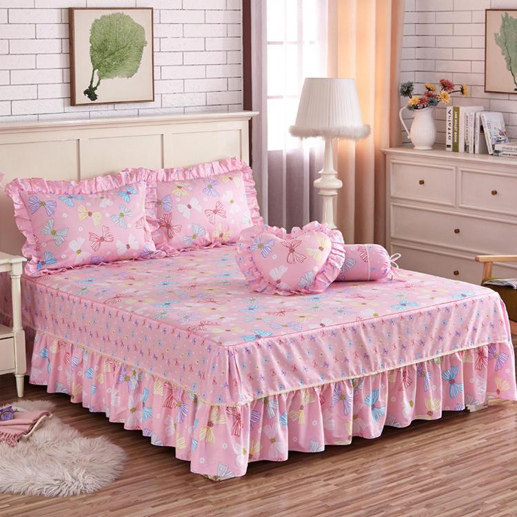 欧苏缦全棉韩版田园床裙纯棉单件公主床单床套床罩1.5米1.8m2.0床