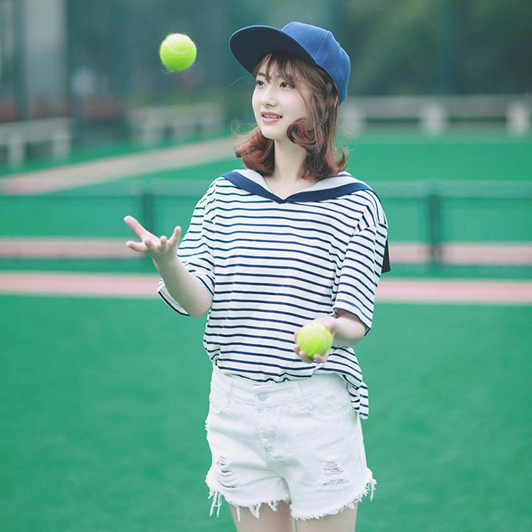 空气猫 夏季新款 甜美学院风 条纹海军领短袖T恤女上衣