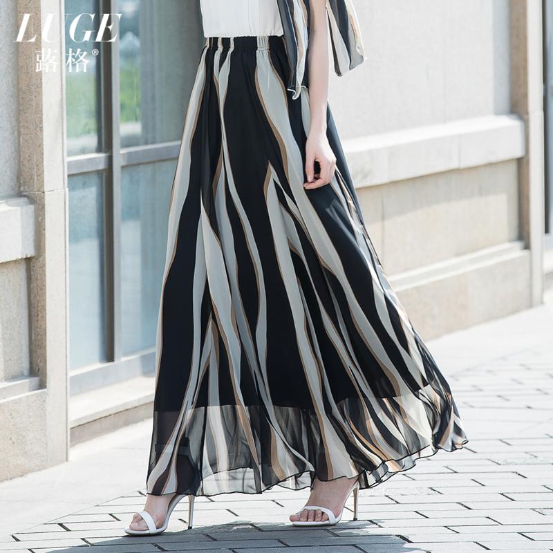 半身裙女裙子夏女士雪纺长裙显�C大摆拖地纱裙优雅下半身长裙高腰