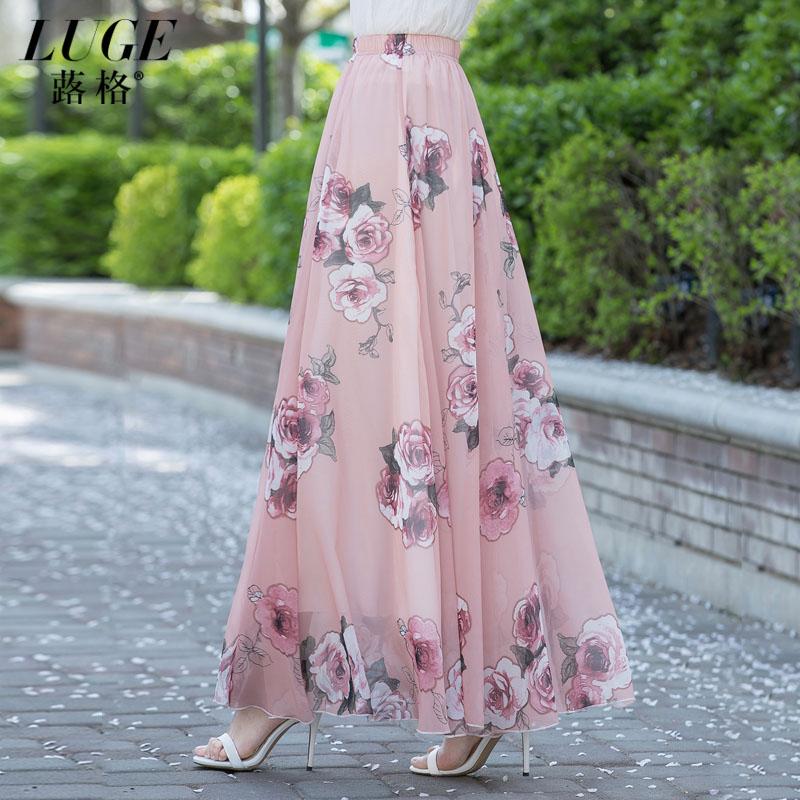 半身长裙女夏2017新款气质印花雪纺中长款半截裙子高腰大摆裙及踝