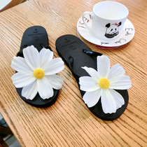 Summer new sweet flat-bottomed female cool slippers fashion flip flops cute clip drag Korean flower beach sandals tide