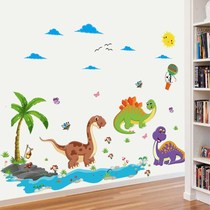 New cartoon childrens room decorations self-adhesive wall stickers cute dinosaur bedroom bedside nursery wall layout