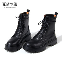 Handsome round head tie with thick-soled Martin boots womens tide ins cool British wind boots womens 2020 new 100 tie flat heel.
