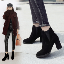 ZHR2018 Autumn Winter new European and American wind Chelsea boots rough heel high heels boots vintage bare boots female boots