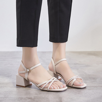 ZHR2019 summer New thick with sandals female cross word buckle High Heels wild gentle fairy shoes ins tide