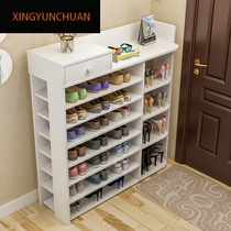 Shoe rack simple multi-layer storage shoe cabinet Home economy solid wood color shelf door large capacity space-saving