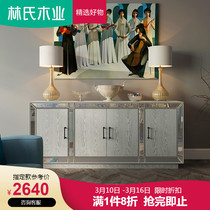Lins Wood Style American Entrance Cabinet home living room small apartment storage decoration partition cabinet LS079