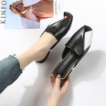 2019 Spring New Baotou half drag flat wear no heel slippers Muller shoes big shoes 41-43 shoes drag