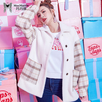 Marma Betty 2018 autumn winter new Inverness style son stitching woolen coat medium loose woolen coat