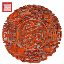 Dongyang wood carving pendant porch living room 58CM camphor round blessing Chinese wood carving wall decoration