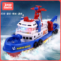 Creative children electric fire boat toy music luminous water jet model toy boat boy girl wh D