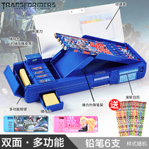 Childrens pencil box male primary schoolboy Transformers stationery box double-sided multi-function large-capacity pen box Korea Creative