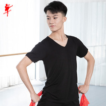 Mens dance short-sleeved top boys practice clothing V-neck square dance T-shirt modern dance body suit Latin dance costume