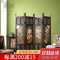 Thai domain Southeast Asia Lotus painting double-sided four-fan solid wood screen new Chinese living room partition folding screen wood carving