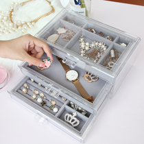 Jewelry storage box simple jewelry small jewelry hairpin stud earrings multi-grid display acrylic ring storage rack