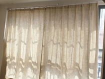 Low-cost foreign trade exports the original single finished curtain semi-shade curtain balcony bedroom bay window polyester linen Pure Color simple