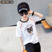 Left West boys summer T-shirt short-sleeved 2019 New childrens cotton shirt in the large childrens offset Korean version of the tide