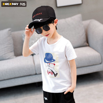 Left West boys summer T-shirt short-sleeved 2019 New childrens shirt in the big boy white cartoon foreign Korean tide