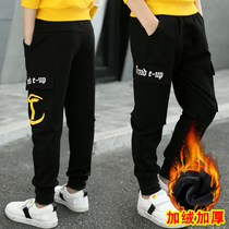 Boys plus velvet sports pants autumn and winter 2019 new boy black overalls children pants children pants tide