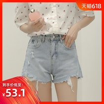 Di You 2019 summer new Korean version of the wear hot pants high waist loose thin hole ins tide denim shorts female
